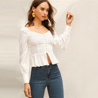 Sweetheart Neck Single Breasted Ruffle Hem White Blouse Women Elegant Split Peplum Hem Bishop Sleeve Cotton Blouse