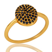 18K Yellow Gold Plated Sterling Silver Pave Set Blue Sapphire Stackable Ring