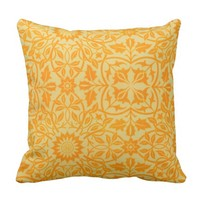 Floral in Orange and Gold Throw Pillow