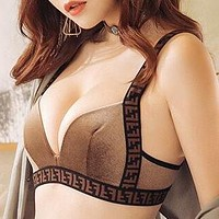 FENDI Newest Trending Women Stylish F Letter Two Piece Underwear Set Coffee