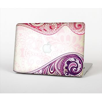 The Vintage Purple Curves with Floral Design Skin Set for the Apple MacBook Pro 13""