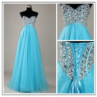 Stunning A-line Sweetheart Sweep Train Prom Dress-blue