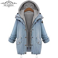 Plus Size 4XL Jean Jacket Womens 2017 Fashion Denim Jacket Spring Winter Long Sleeve Women Coat Oversized Casual Denim Chaquetas