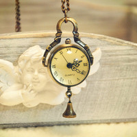 Pocket Watch Vintage Compass Style Necklace Locket Pendant Chain Small Bell (TX0107)