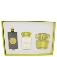 Gift Set -- 3 oz Eau De Toilette Spray + 3.4 oz Body Lotion + Gold Versace Luggage Tag