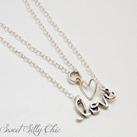 Layered Love Necklace in Sterling Silver, Double Layer Sterling Silver Heart and Love Charm Necklace, Short Necklace