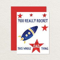 Printable Father's Day Card A2 / You Really Rocket Card / Pun Card / Card for Dad / Funny Father's Day Card