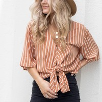 AMUSE SOCIETY Hazelnut Striped Front Tie Top