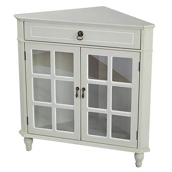 """Display Cabinet - 31"""" X 17"""" X 32"""" Beige MDF, Wood, Clear Glass Corner Cabinet with a Drawer Doors and Paned Inserts"""