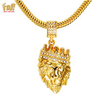 "JFY Mens HIP HOP JEWELRY Iced Out 18 k Gold Plated Lion Head Necklace With FREE Round Snake Gold Chain 30""Necklace For Unisex"