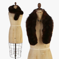 Vintage 50s MINK Fur STOLE / 1950s Dark Brown Genuine Fluffy Marten Pelt Stole Shawl Scarf