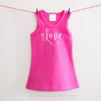 Love Dress Valentine's Day Hot Pink Girl Outfit Embroidered Sleeveless Dress