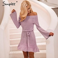 Simplee Sexy off shoulder knitting sweater dress women Elegant ruffle sash short dress Casual long sleeve autumn winter dress