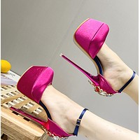 New hot selling crystal with satin fabrics with high heel women's shoes