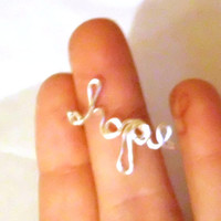 Personalized Name Ring, Sterling Silver. Wire Word Art, Adjustable