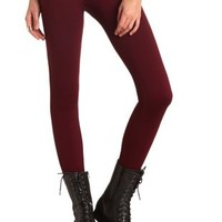 High Rise Faux Fur-Lined Leggings by Charlotte Russe - Burgundy