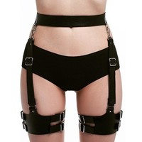 Leather Harness Thigh Straps Suspenders Sexy Bdsm Bondage Punk Rave Pastel Goth Sexy Fantazi Seks Belt For Stockings High Thigh