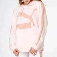 PUMA Autumn And Winter Fashion New Bust Embroidery Letter Hooded Long Sleeve Sweater Pink