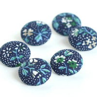 Fabric Buttons Dark Blue Flowers 6 Small Fabric Covered Buttons