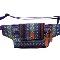 Bum bag blue dot ethnic/fanny pack/Belt bag/waist bag/crossbody bag/festival bum bags/festival fanny pack/travel bag/thai bag/BUY 3 FREE 1