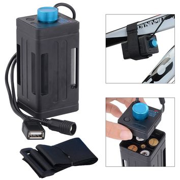 Portable Waterproof Battery Case Box with USB Interface Support 4 x 18650 Battery for LED Bicycle Light Bike Lamp Power Bank