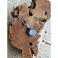 Bright blue rainbow moonstone sterling silver pendant necklace