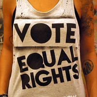 Limited Edition Vote Equal Rights hand stenciled & spray painted by Rainbow Alternative on Etsy