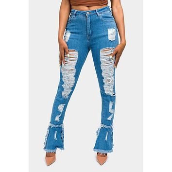 High Waisted Distressed Bootcut Jeans