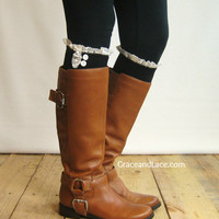 The Milly Lace - Black Cable-knit Boot Socks w/ Ivory Lace Ruffle & ivory buttons (item no. 5-2)