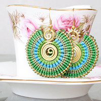Circle textile green earring ethnic brass style - earring,ethnic earring,brass earring,cute earring