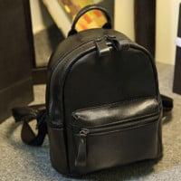 Black Travel Bag Soft Leather School Bag Backpack