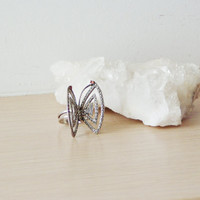 Vintage butterfly ring, sterling silver and marcasite stones ring with garnets on the antennae, large butterfly ring, late eighties