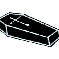 Voodoo Coffin with Cross Iron on Applique Gothic Occult Clothing