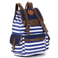 Navy Blue and White Travel Bag Canvas Lightweight Casual Backpack
