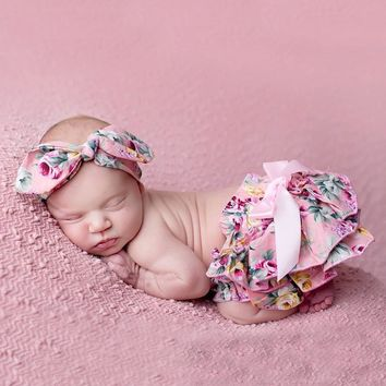 Floral Bow Baby Bloomer Headband set Girl Diaper Covered Tutu Ruffled Panties Infant Shorts Culottes baby Newborn Photo Props