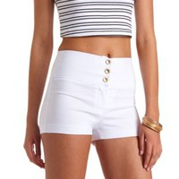 Stretchy High-Waisted Shorts by Charlotte Russe - White