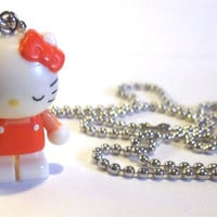 Coral Hello Kitty Necklace Pendant Charm Sanrio Kawaii Pink Orange Anime Japan