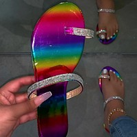 2020 new summer women's water diamond slippers