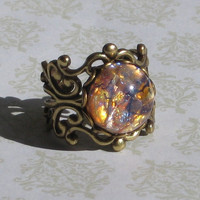 Topaz and Amethyst Fire Opal Ring in Antiqued by AmandasBoutique
