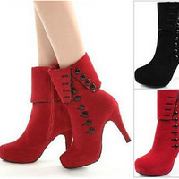 Women Ankle Boots Heels 2015 Autumn Winter Botas Red High Heel Shoes Platform Suede Woman Boots Female Shoes