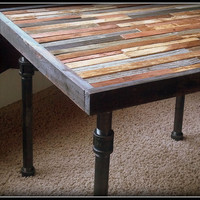 Modern Industrial Reclaimed Rustic Night Stand - Side Table - Coffee Table with Steel Pipe Legs