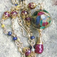 Ruby Sapphire Ethiopian Opal Bead Necklace, Gold Filled Wire Wrapped