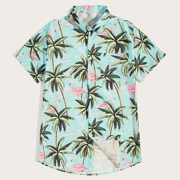 Fashion Casual Men Flamingo Tree Print Hawaiian Shirt