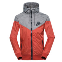 """NIKE""Fashion Hooded Zipper Cardigan Sweatshirt Jacket Coat Windbreaker Sportswear print letters Orange"