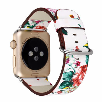Floral Printed Leather Band