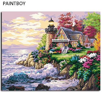 DIY Painting By Numbers Beach House Frameless Picture Painting Wall Digital Canvas Oil Painting Home Decor For Living Room G174