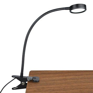 LEPOWER New Version Metal Clip On Light, Flexible Bed Light with 3 Colors x Stepless Adjustable Brightness, Eye Caring Reading Light for Desk, Bed Headboard and Computers(Black)-No AC Adapter Black