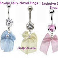 Satin Bowtie Belly Button Ring In Pastel Colors - Exclusive Design by SHOPATLUXE