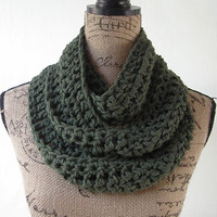 Ready To Ship Dark Olive Green Cowl Scarf Fall Winter Women's Accessory Infinity 163