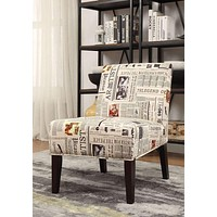 Aberly Accent Chair, Newspaper Print